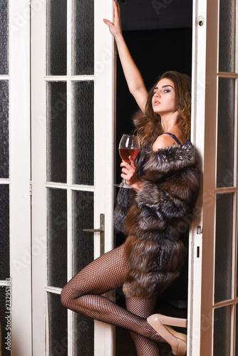 2064f45e136 Woman seductive model wear luxury fur and elite lingerie. Confident in her  magnetism. Seduction