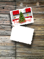 3d illustration rendering two Christmas postcard blank frames against wooden background