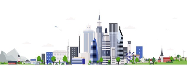 Fototapete - Horizontal landscape with modern tall buildings of downtown or business area. Cityscape with skyscrapers. City development, construction and architecture. Colorful vector illustration in flat style.