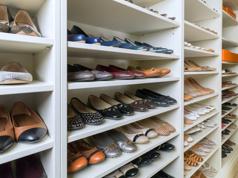 Shoe collectors walk in closet