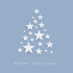 Pastel blue christmas tree vector design with origami star shapes and merry christmas text.