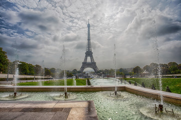 PARIS, FRANCE, SEPTEMBER 5, 2018 - View of Eiffel Tower through the Fountain of Trocadero Gardens in Paris, France