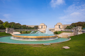 PARIS, FRANCE, SEPTEMBER 5, 2018 - View of Trocadero in Paris, France, in a sunny day with blue sky.