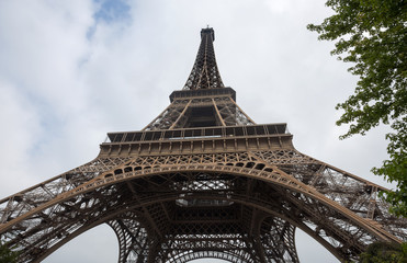 View of Eiffel Tower in a day of a cloudy sky in Paris, France