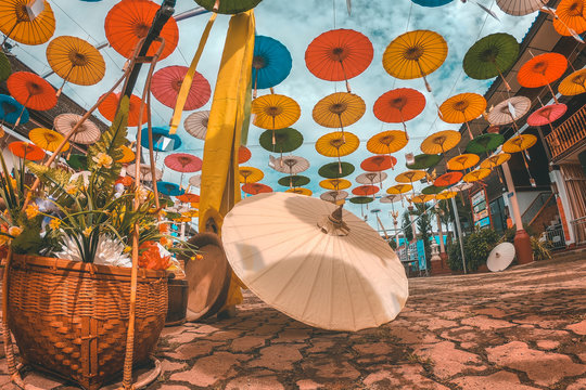 Lanna Umbrella Festival and Loi kratong Festival in Temple Chiang mai Thailand
