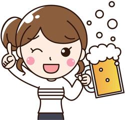 女性会社員OLのビールで乾杯
