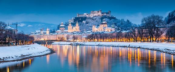 Salzburg old town at twilight in winter, Austria