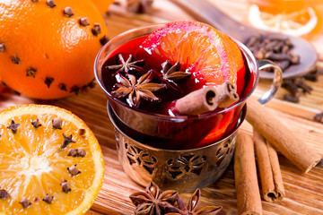 Christmas mulled wine with spices.