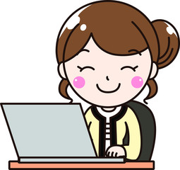 女性会社員OLの笑顔で仕事