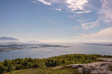 Breathtaking rural norway mountain landscape with sea
