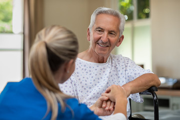 Senior patient with doctor