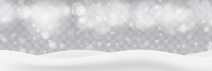 Fototapeta Heavy snowfall, snowflakes in different shapes and forms, vector illustration. White cold flake elements isolated on transparent background, bokeh, defocused lights. White realistic snow layers.