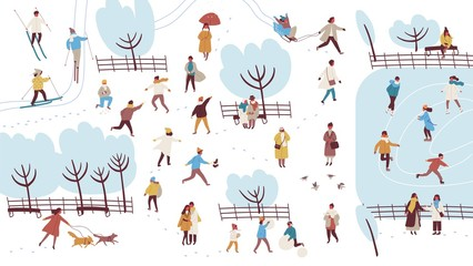 Crowd of tiny people dressed in outerwear performing outdoor activities in winter park - building snowman, throwing snowballs, walking dog. Colorful vector illustration in flat cartoon style.