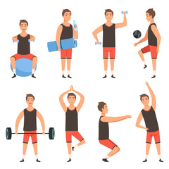 Athletic sport man. Gym male fitness character standing in action poses workout training vector mascot. Illustration of sportsman power with barbell, trainer athlet