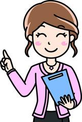 女性会社員OLの笑顔で紹介案内提案