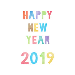 Colorful watercolor on happy new year 2019 text