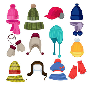 Winter hat cartoon. Headwear cap scarf and other fashion accessories clothes in flat style vector illustrations. Scarf and hat, headwear and winter clothing