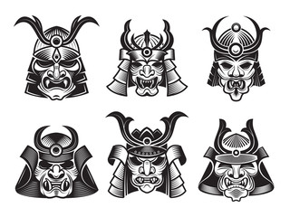 Asian martial mask. Japanese samurai face armour warrior vector illustrations for tatoo or logo designs. Martial warrior mask, ninja fighter monochrome illustration