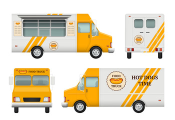 Mobile restaurant identity. Business tools of corporate style for fast catering kitchen and fast food truck vector logo blank templates. Illustration of food catering truck, restaurant vehicle