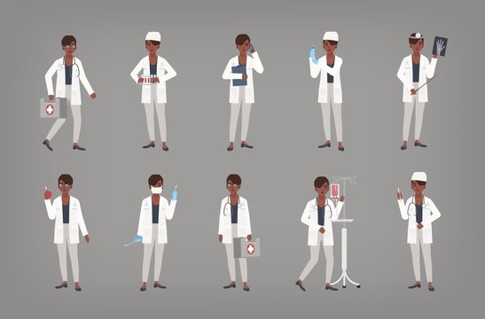 Set of African American female doctor, physician or surgeon standing in various positions. Bundle of black woman in white coat holding medical equipment. Flat cartoon colorful vector illustration.