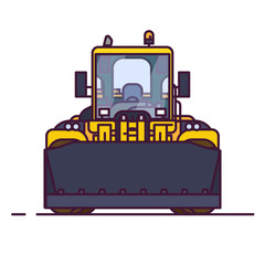 Front view of yellow bulldozer or wheel loader. Line style vector illustration. Construction vehicle and quarry machinery banner. Modern excavator machine. Loader with front bucket, engine vehicle.