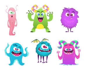 Monsters mascot. Furry cute gremlin troll bizarre funny toys vector cartoon characters isolated. Character scary and funny, cheerful monster goblin. Vector illustration
