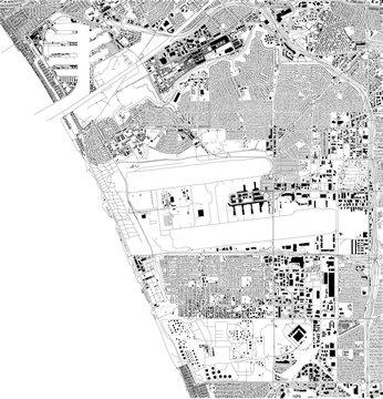 Mappa satellitare di Los Angeles, aeroporto, California, Usa, strade della città. Stradario e mappa del centro città