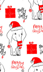 Hand drawn vector illustration with a cute baby elephant celebrating celebrating a Merry Christmas - seamless pattern with isolated on white background