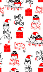 Hand drawn vector illustration with two cute owls celebrating celebrating a Merry Christmas - seamless pattern with isolated on white background