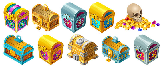 Set cartoon wooden isometric closed chests decorated silver for computer game. Isolated vector illustration on white background.