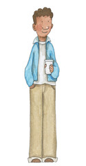 Man with coffee isolated on white background. Watercolor hand drawn illustration