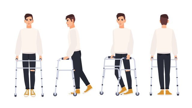 Smiling young man with walking frame or walker isolated on white background. Male character with physical disability or impairment. Front, side, back views. Vector illustration in flat cartoon style.