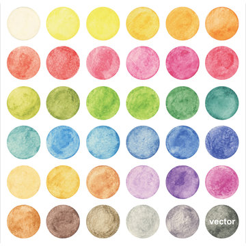 Vector colorful watercolor circle set