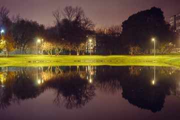 City pond with illumination around the radius with the reflection of lights