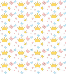 Cute Baby seamless pattern. Editable vector illustration