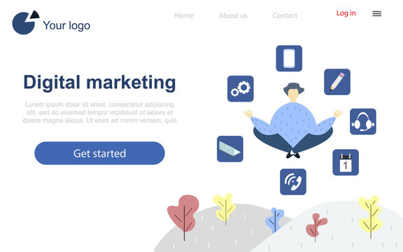 Landing page design template. A man in a lotus pose surrounded by icons. Digital marketing.