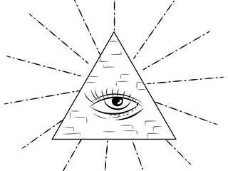 All-seeing eye in the pyramid. Outline drawing. Masonic symbol.