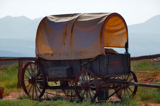 Old stagecoach at Arches National Park, Utah, USA