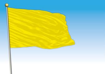 Symbolic monochromatic colored flag, yellow color