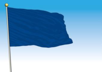 Symbolic monochromatic colored flag, blue color