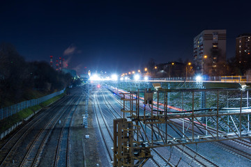 Railway metropolis with a developed infrastructure and night lighting