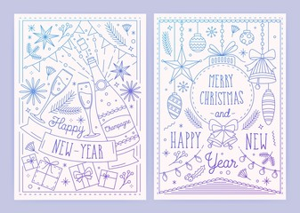 Collection of Christmas and New Year postcard templates with festive decorations drawn in linear style - ribbons, baubles, champagne bottle and glasses, garlands. Monochrome vector illustration.