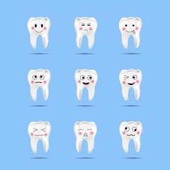 Set of cute tooth emoji and emoticons with different facial expressions