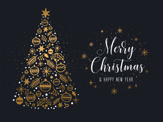 Merry Christmas and Happy New Year greeting card. Vector illustration of a golden Christmas tree and white cursive inscription with glitter. Isolated on a black background.