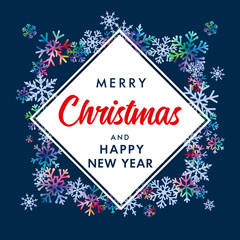 Merry Christmas and Happy New Year elegant lettering banner. Vector xmas greeting for Happy New Year greeting card of winter colored and blue snowflakes on snow frame