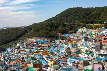 Busan, South Korea - October 11, 2018 - Gamcheon Culture Village is the famous attractive spot for tourists. It is colourful village on mountain slope always used to film Korean TV series.