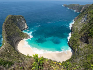 Beautiful Klingking Beach and rocks on the island of Nusa Penida near the island of Bali in Indonesia. October, 2018