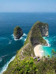 Beautiful Klingking Beach and rocks on the island of Nusa Penida near the island of Bali in Indonesia. October, 2018