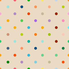 seamless multicolored polka dot background pattern, clean style, vector illustration