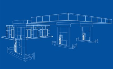 Gas Station. Vector rendering of 3d